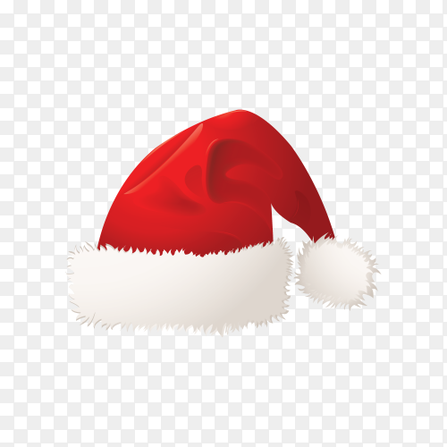 Hand drawn cartoon santa claus hat on transoarent background PNG.png