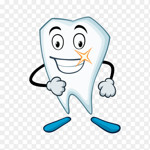 Hand drawn cartoon tooth illustration on transparent background PNG.png