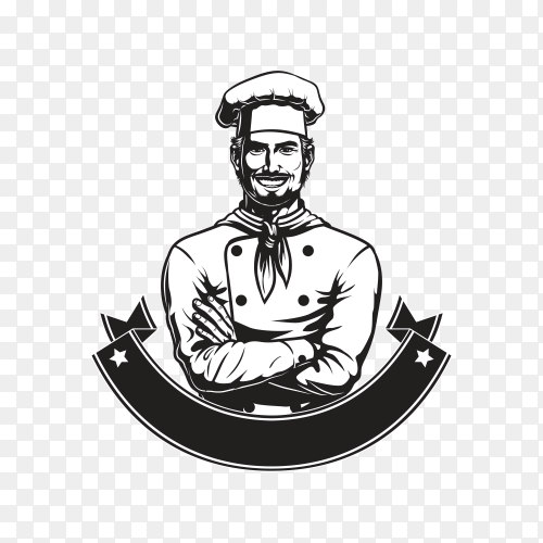 Hand drawn chef logo in white and black color on transparent background PNG