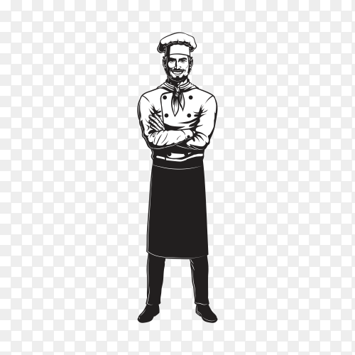 Hand drawn chef man character design premium vector PNG