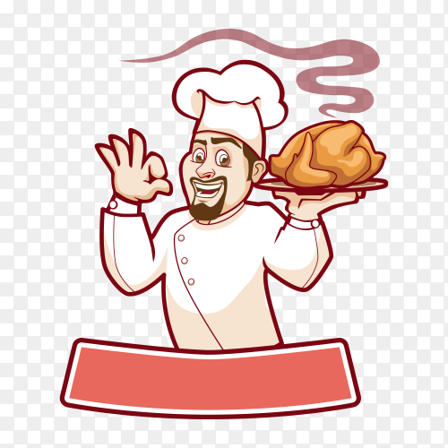 Hand drawn chef with chicken on transparent background PNG