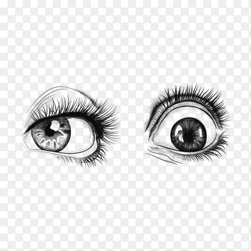 Hand drawn eyes on transparent background PNG