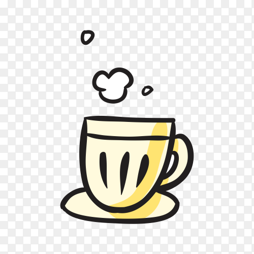 Hand drawn hot a cup of tea on transparent background PNG