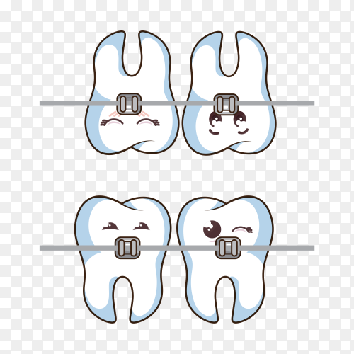 Hand drawn human tooth character icon on transparent background PNG