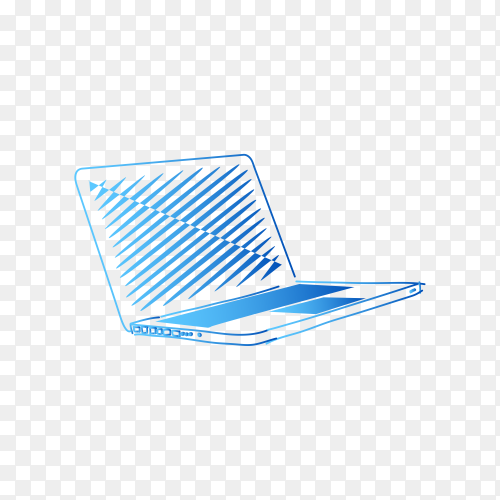 Hand drawn laptop on transparent background PNG
