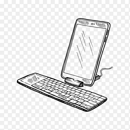 Hand-drawn sketch of computer device on transparent background PNG on transparent background PNG