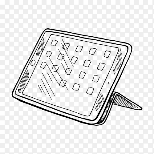 Hand drawn sketch tablet on transparent background PNG