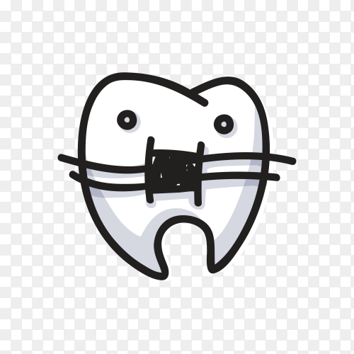 Hand drawn tooth isolated on transparent background PNG