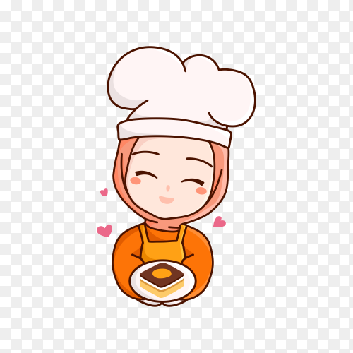 Hand drawn woman chef isolated on transparent background PNG