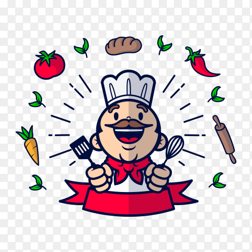 Happy chef and ingredients with flat design on transparent background PNG