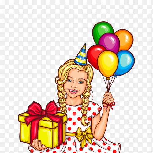 Happy pop art woman that holds a gift in their hands on transparent background PNG