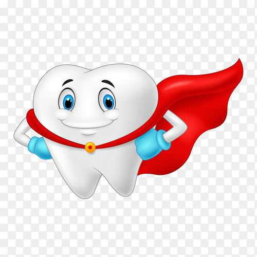 Happy superhero healthy tooth illustration on transparent background PNG