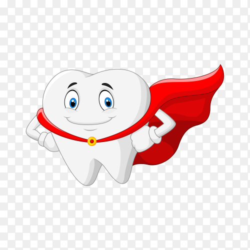 Happy superhero healthy tooth on transparent background PNG
