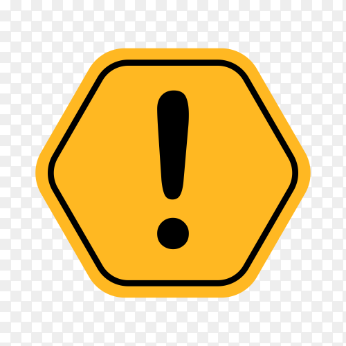 Hazard warning attention sign with exclamation mark symbol on transparent background PNG