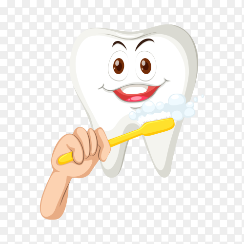 Healthy tooth with happy face on transparent background PNG