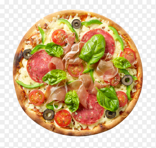 Hot big whole tasty pizza with melting cheese bacon tomatoes ham paprika on transparent background PNG