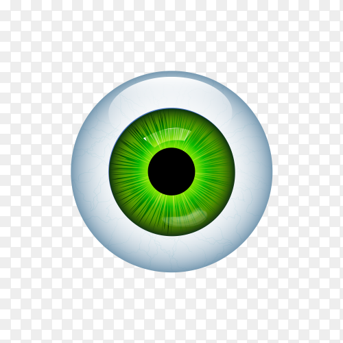 Human eye with veins on transparent background PNG
