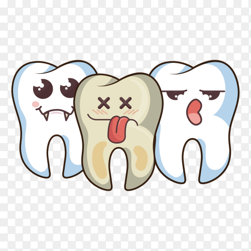 Human tooth character icon on transparent background PNG