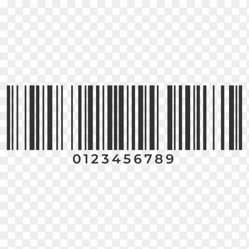 Illustration of Barcode. Supermarket scan code bar and qr code, industrial barcode price black label realistic isolated on transparent background PNG