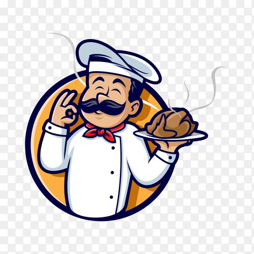 Illustration of Master chef holding chicken on transparent background PNG