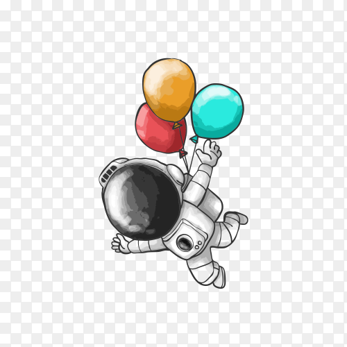 Illustration of astronaut design flying with balloons on transparent background PNG