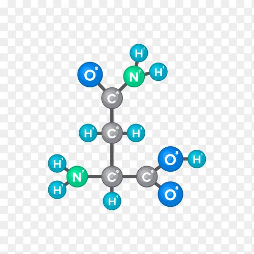 Illustration of molecular structure of chemical substance on transparent background PNG