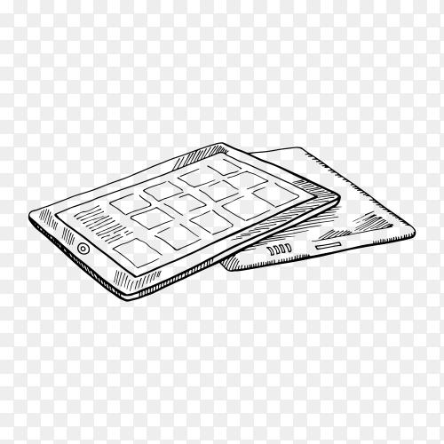 Illustration of tablet sketch hand drawn on transparent background PNG