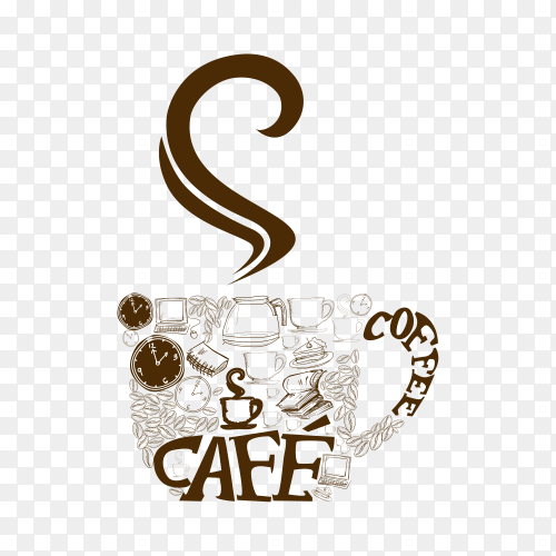 Illustration of coffee logo icon on transparent background PNG