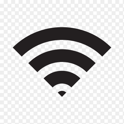 Illustration with Black WiFi Icon on transparent background PNG