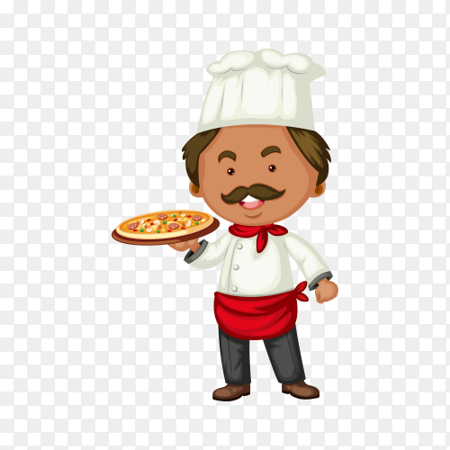 Italian chef and hot pizza illustration on transparent background PNG