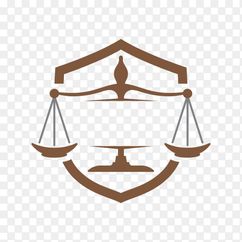 Justice and law logo, creative simple logo for lawyer identity on transparent background PNG