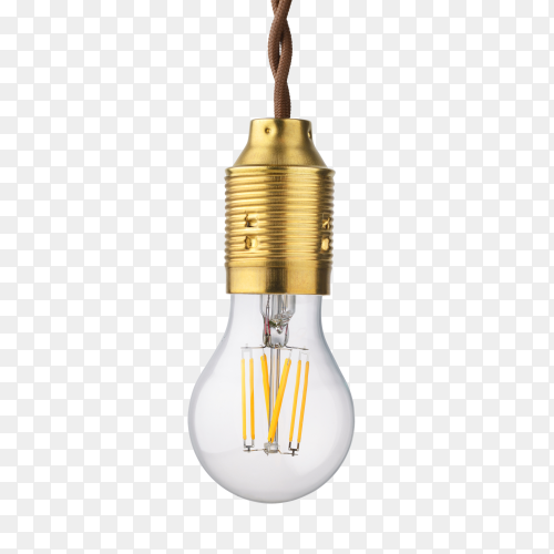 LED filament light bulb isolated on transparent background PNG