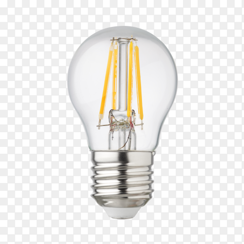 LED filament light bulb on transparent background PNG
