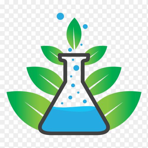 Lab and leaf logo illustration on transparent background PNG
