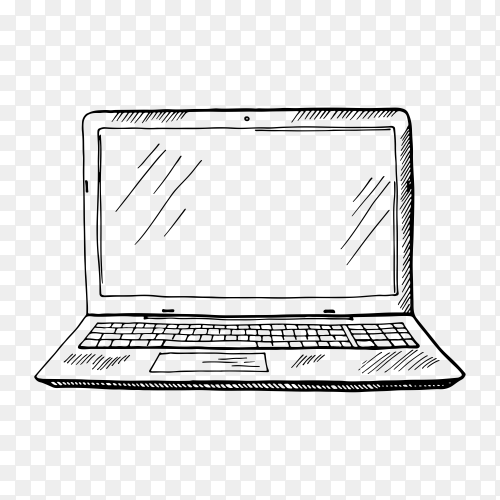 Laptop hand drawn sketch in black and white color illustration on transparent background PNG