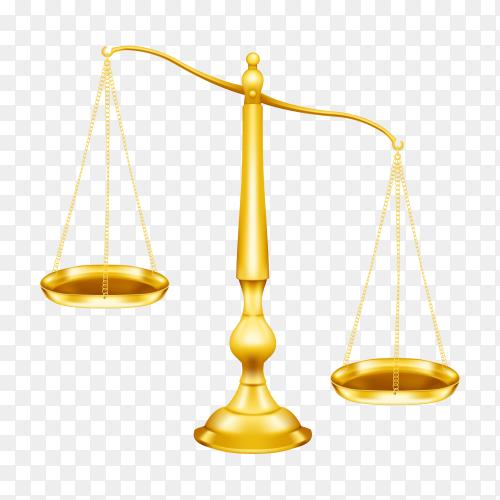 Law icon ancient scales of justice isolated on transparent background PNG
