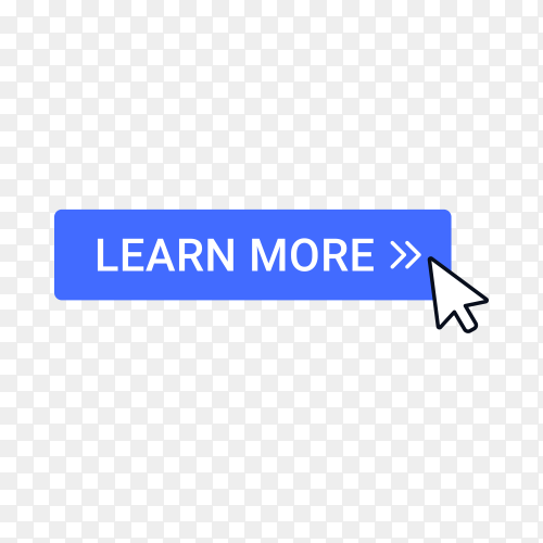 Learn more button with hand pointer clicking on transparent background PNG