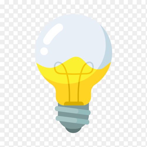 Light Bulb with liquid inside on transparent background PNG