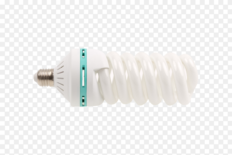 Light bulb, energy saving spiral bulb isolated on transparent background PNG