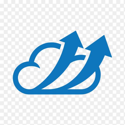 Logo design in blue cloud on transparent background PNG