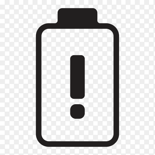 Low battery charge icon on transparent background PNG