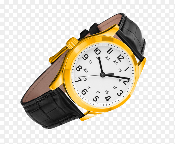 Luxury classic gold watch on transparent background PNG