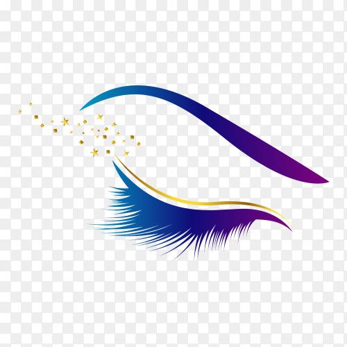 Luxury eyelashes logo on transparent background PNG