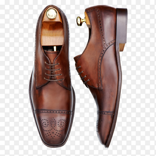 Male brown leather shoes isolated on transparent background PNG