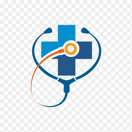 Medical health-care logo design template on transparent background PNG