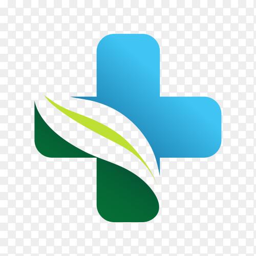 Medical pharmacy logo design template on transparent background PNG