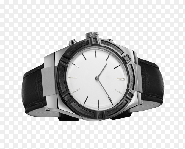 Men's watch with leather strap and white dial on transparent background PNG