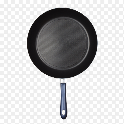 Metal black frying pan with a non-stick coating on transparent background PNG