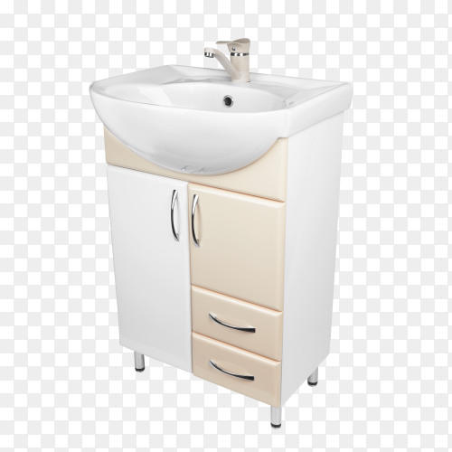 Modern cabinet with sink on transparent background PNG