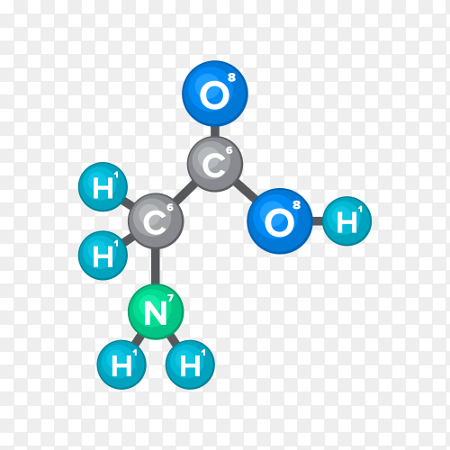 Molecular structure of chemical substance on transparent background PNG